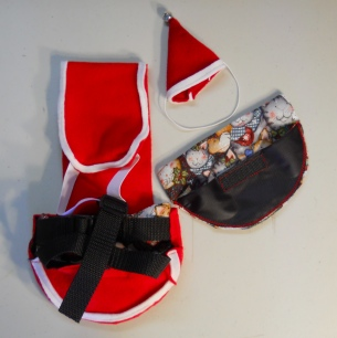 Santa Suit with Hat and Christmas cats goose diaper holder