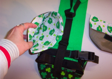 St. Pat's Goose Diaper Holder Close Up of Liner